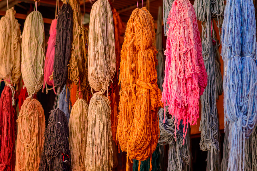 Hand dyed Wool Yarn in the markets of Marrakech