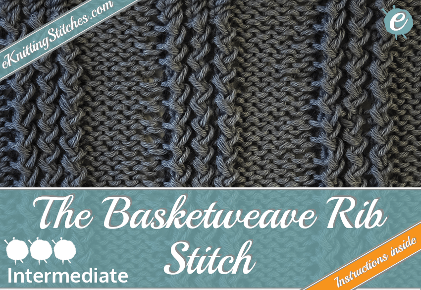 Basketweave Rib stitch example & title slide for