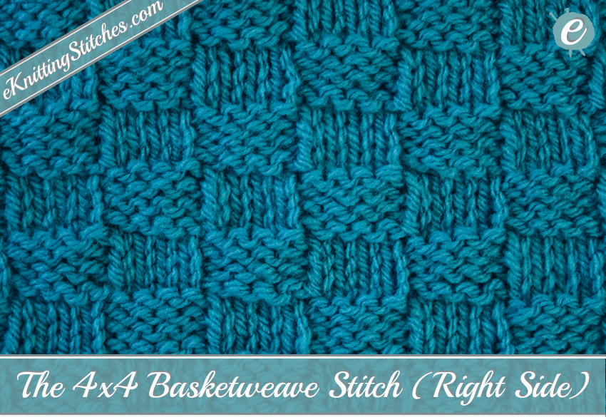 Basketweave Stitch (4x4) - eKnitting Stitches.com