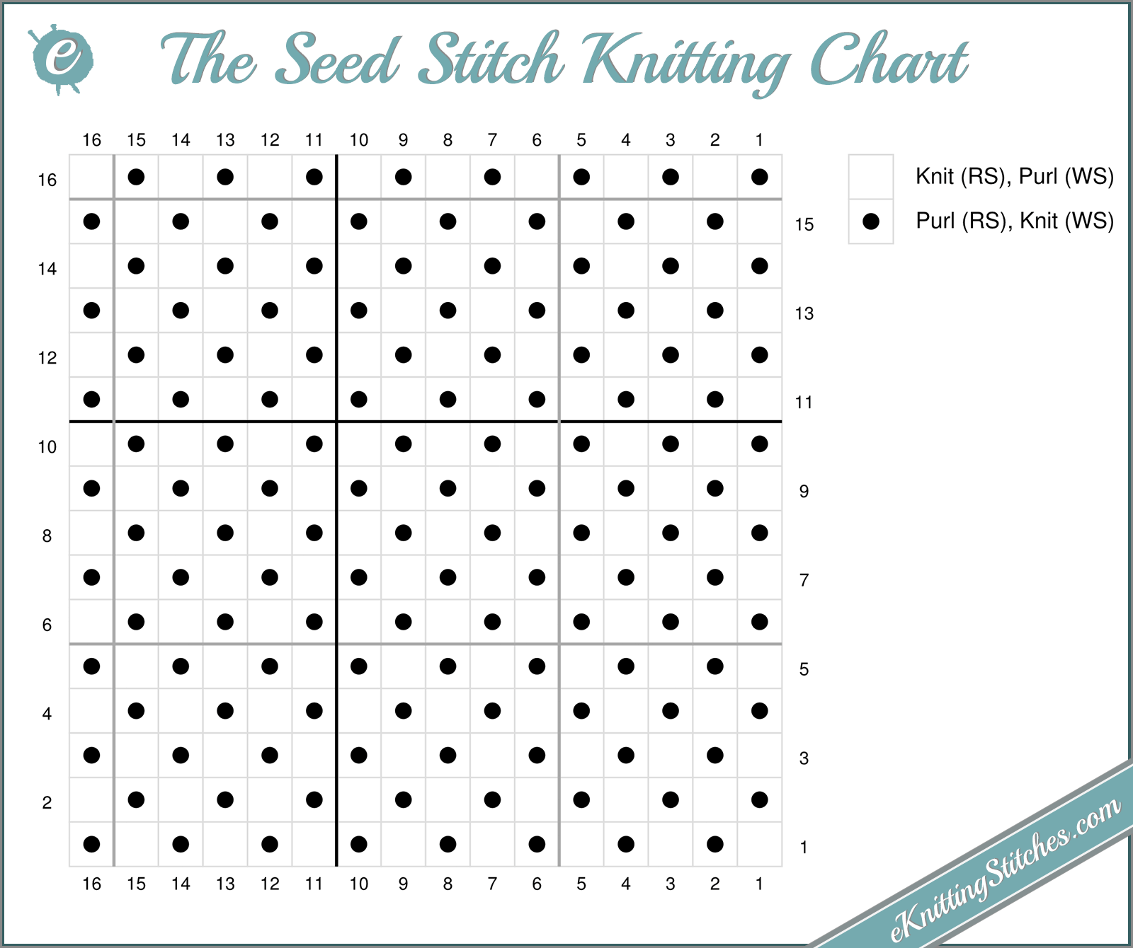 Seed Stitch - eKnitting Stitches.com