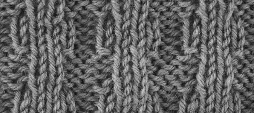 "Broken Ribbing Stitch example & Title Slide for ""How to Knit the Broken Ribbing Stitch"""