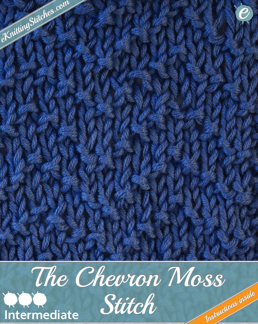 Chevron Moss stitch example & title slide for