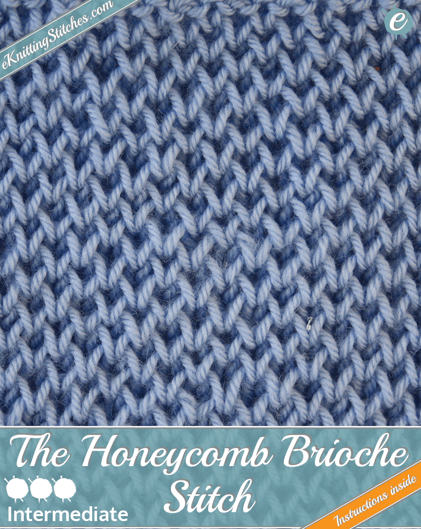 Honeycomb Brioche Stitch example & Title Slide for