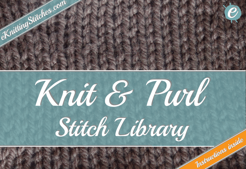 Photo example of a knit and purl stitch - links to knit and purl stitch catalogue.