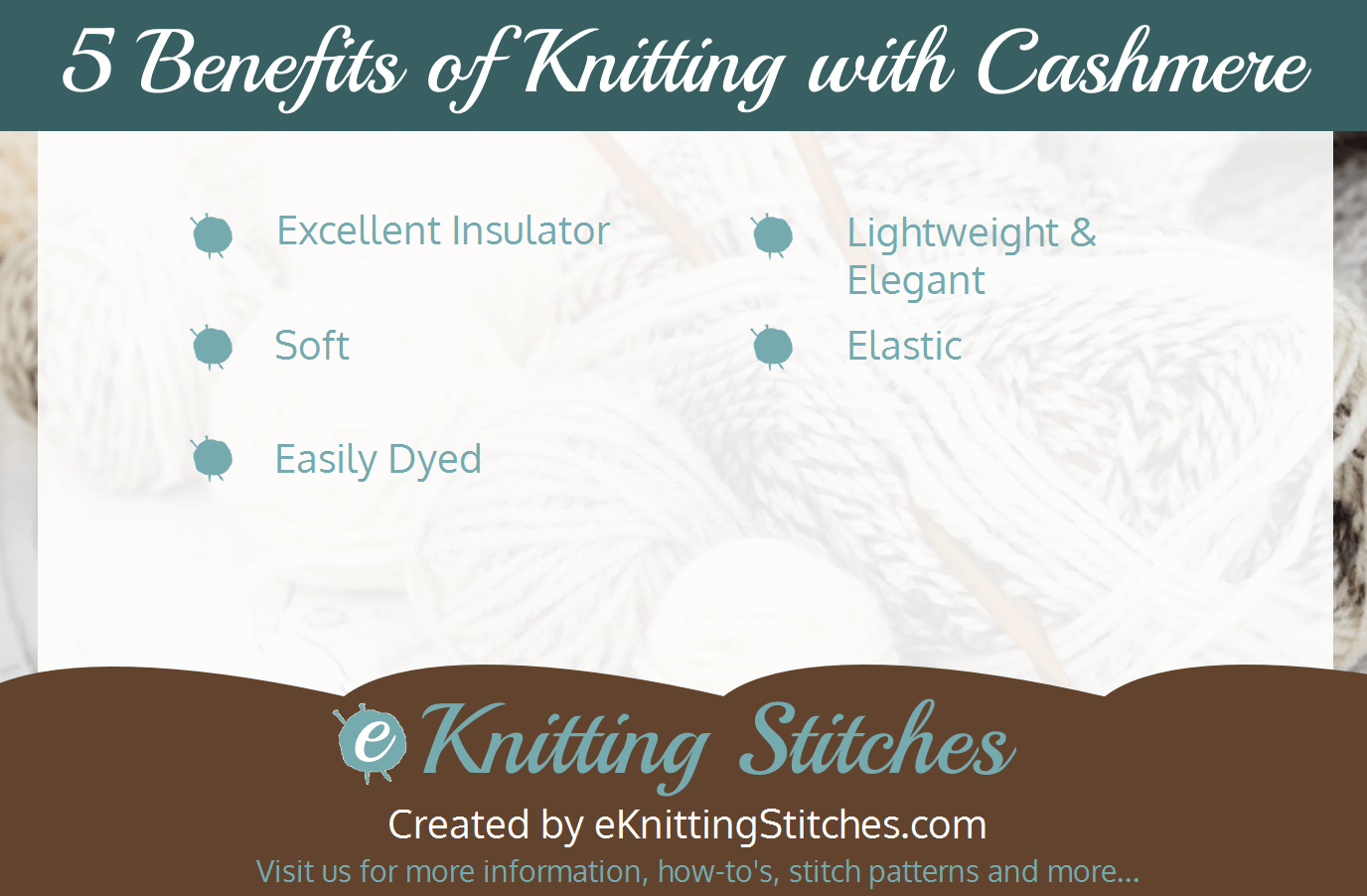 5 Advantages of Knitting with Cashmere Yarn Infographic
