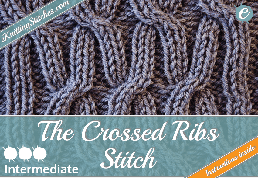 Crossed Rib stitch example & title slide for