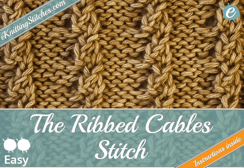 Ribbed Cables stitch example & title slide for