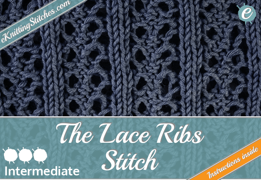 Lace Rib Stitch example & Lace Rib Slide for