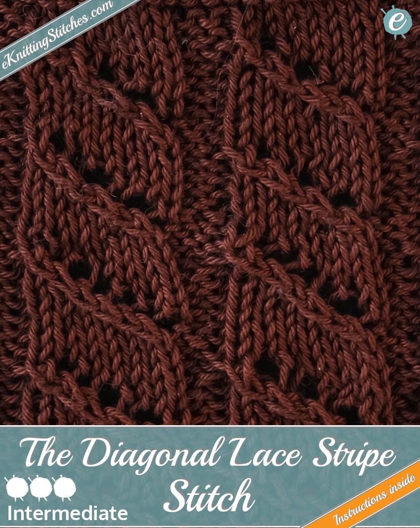 Diagonal Lace Stripe Stitch example & title slide for
